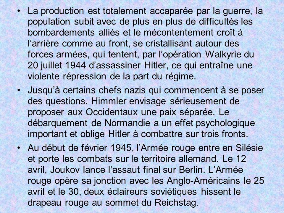La production est totalement accaparée par la guerre, la population subit avec de plus en plus de difficultés les bombardements alliés et le mécontent