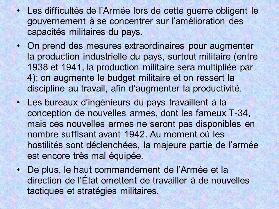 Les difficultés de lArmée lors de cette guerre obligent le gouvernement à se concentrer sur lamélioration des capacités militaires du pays. On prend d