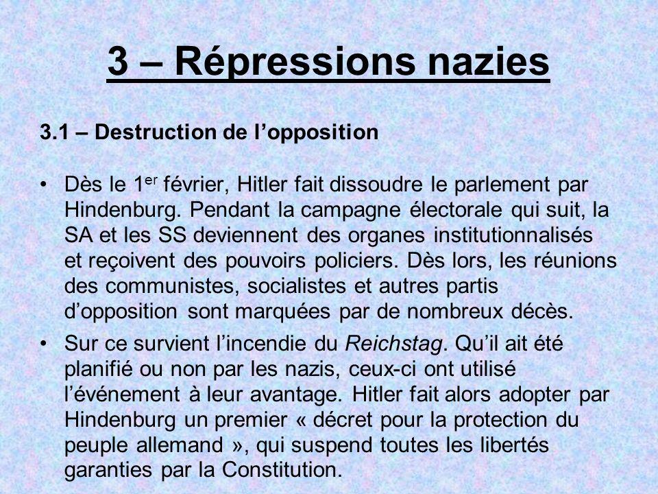 3 – Répressions nazies 3.1 – Destruction de lopposition Dès le 1 er février, Hitler fait dissoudre le parlement par Hindenburg. Pendant la campagne él