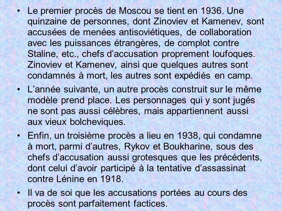 Le premier procès de Moscou se tient en 1936. Une quinzaine de personnes, dont Zinoviev et Kamenev, sont accusées de menées antisoviétiques, de collab