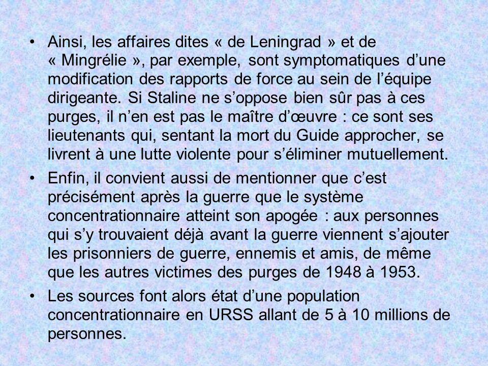 Ainsi, les affaires dites « de Leningrad » et de « Mingrélie », par exemple, sont symptomatiques dune modification des rapports de force au sein de lé