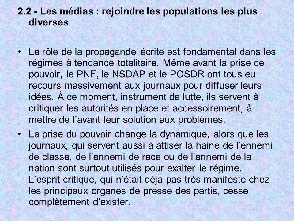 2.2 - Les médias : rejoindre les populations les plus diverses Le rôle de la propagande écrite est fondamental dans les régimes à tendance totalitaire