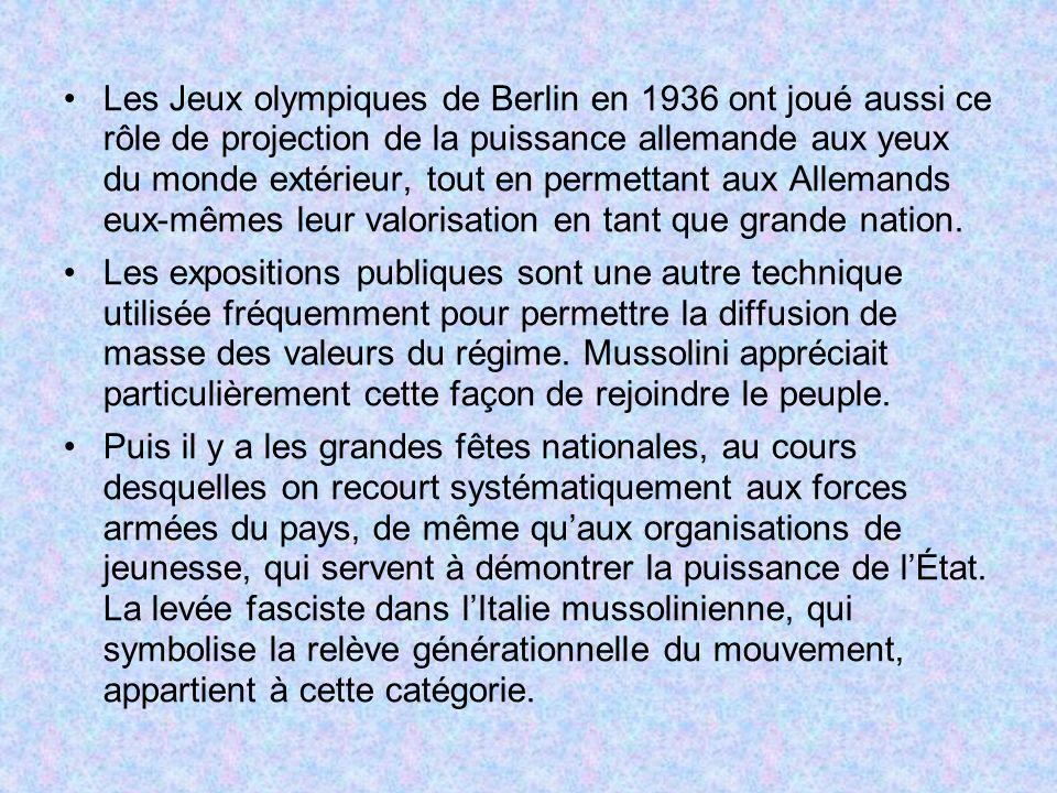 Les Jeux olympiques de Berlin en 1936 ont joué aussi ce rôle de projection de la puissance allemande aux yeux du monde extérieur, tout en permettant a