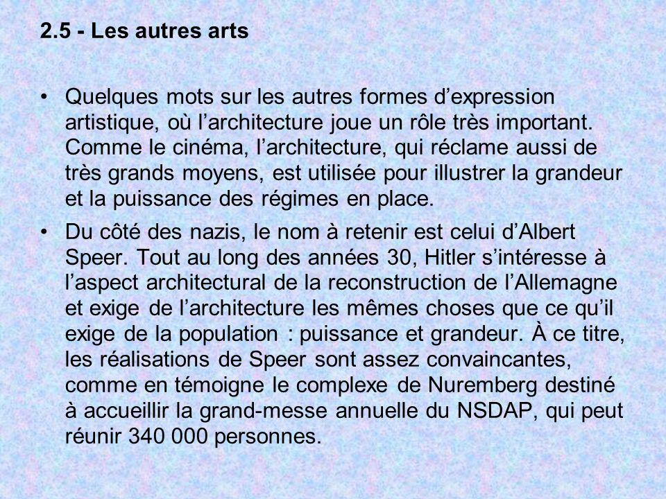 2.5 - Les autres arts Quelques mots sur les autres formes dexpression artistique, où larchitecture joue un rôle très important. Comme le cinéma, larch