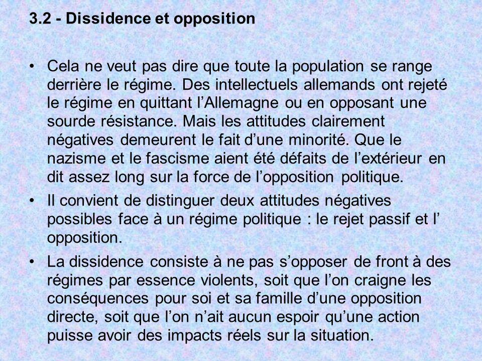 3.2 - Dissidence et opposition Cela ne veut pas dire que toute la population se range derrière le régime. Des intellectuels allemands ont rejeté le ré