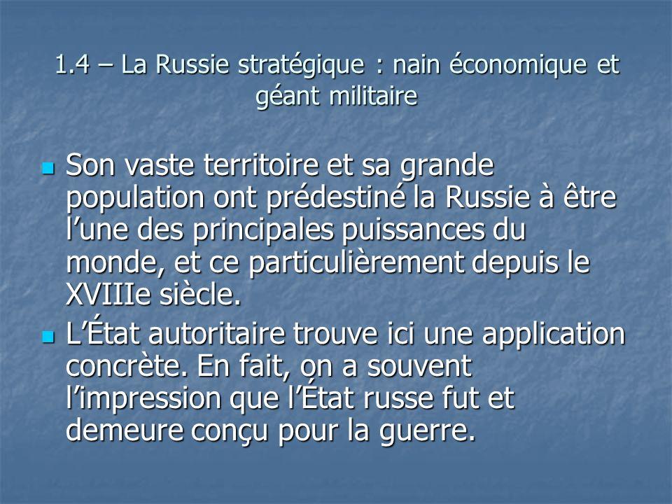 1.4 – La Russie stratégique : nain économique et géant militaire Son vaste territoire et sa grande population ont prédestiné la Russie à être lune des