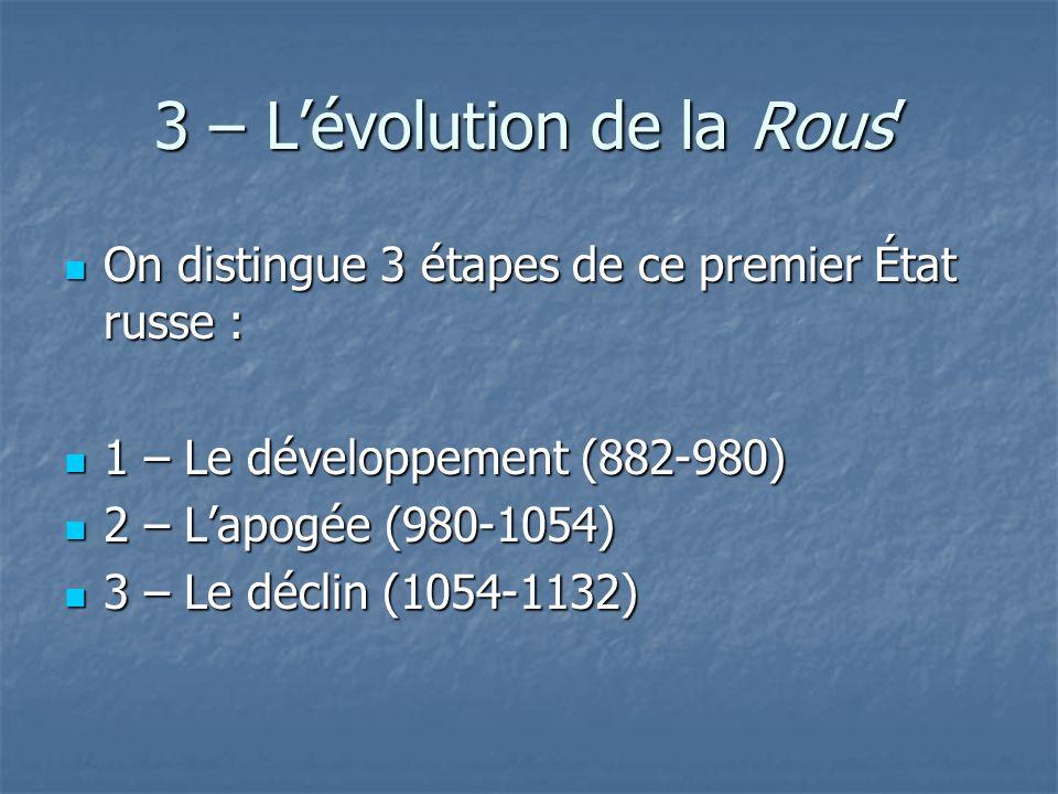 3 – Lévolution de la Rous On distingue 3 étapes de ce premier État russe : On distingue 3 étapes de ce premier État russe : 1 – Le développement (882-