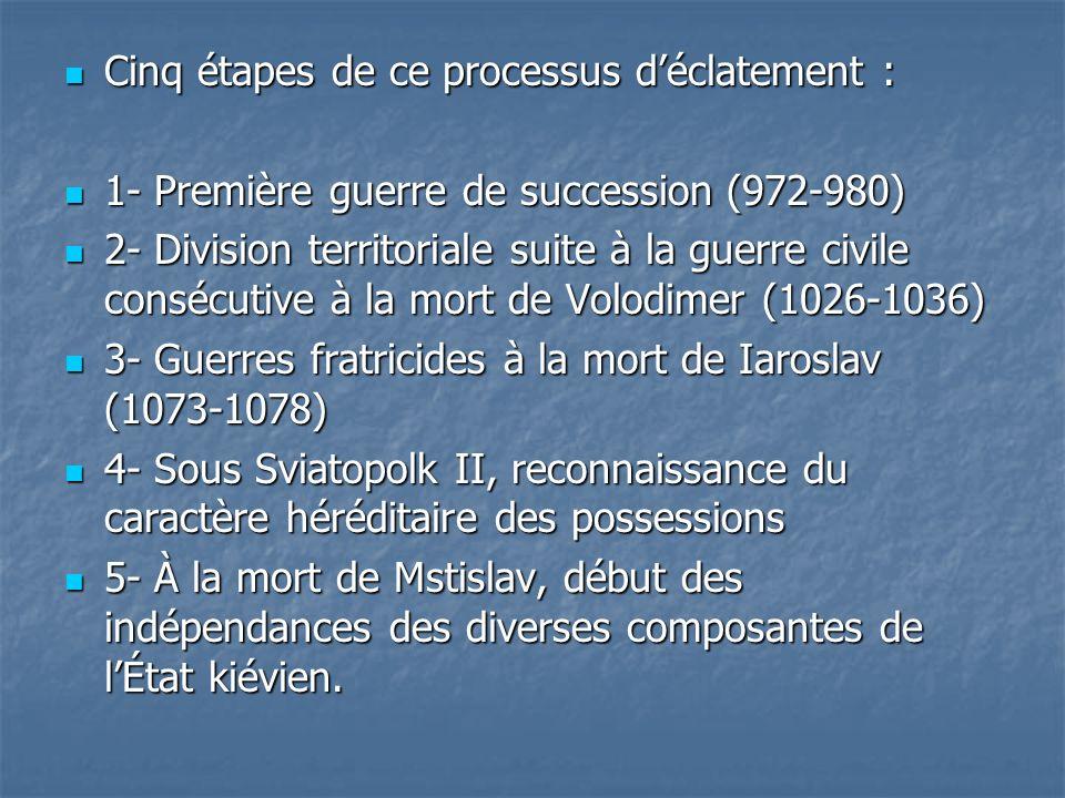 Cinq étapes de ce processus déclatement : Cinq étapes de ce processus déclatement : 1- Première guerre de succession (972-980) 1- Première guerre de s