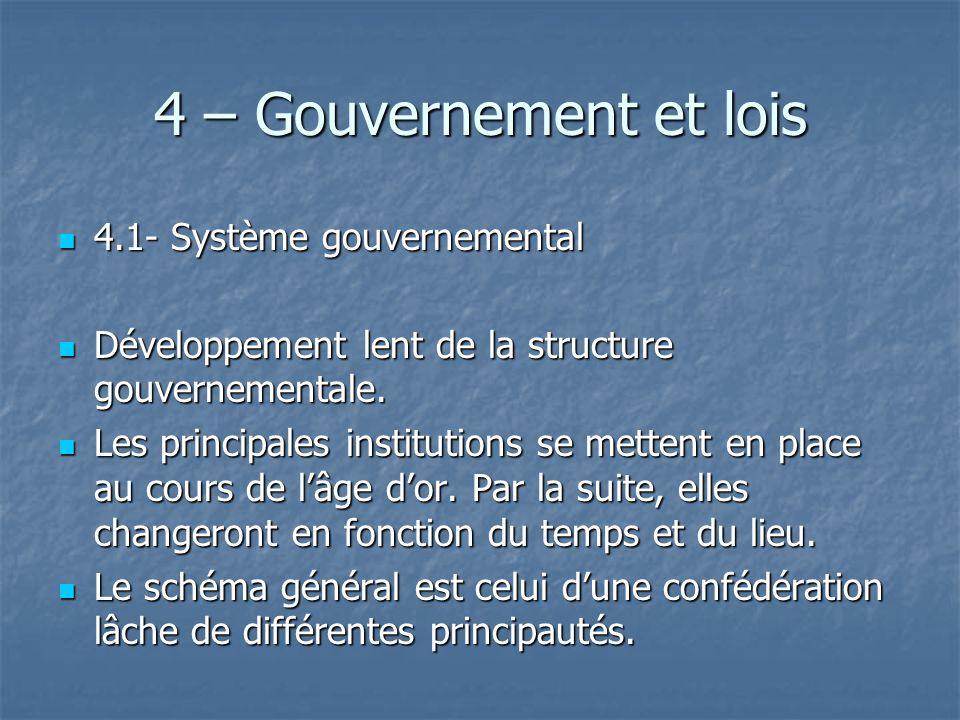 4 – Gouvernement et lois 4.1- Système gouvernemental 4.1- Système gouvernemental Développement lent de la structure gouvernementale. Développement len