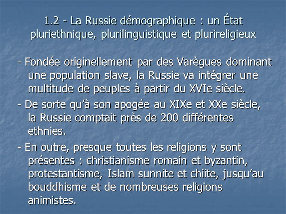 1.2 - La Russie démographique : un État pluriethnique, plurilinguistique et plurireligieux - Fondée originellement par des Varègues dominant une popul