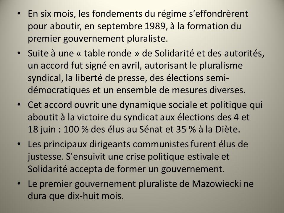 En six mois, les fondements du régime seffondrèrent pour aboutir, en septembre 1989, à la formation du premier gouvernement pluraliste. Suite à une «