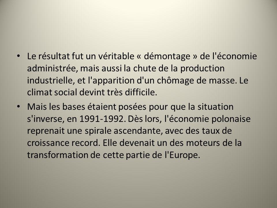 Le résultat fut un véritable « démontage » de l'économie administrée, mais aussi la chute de la production industrielle, et l'apparition d'un chômage