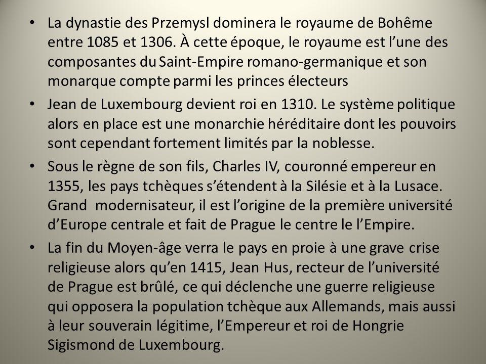 La dynastie des Przemysl dominera le royaume de Bohême entre 1085 et 1306. À cette époque, le royaume est lune des composantes du Saint-Empire romano-