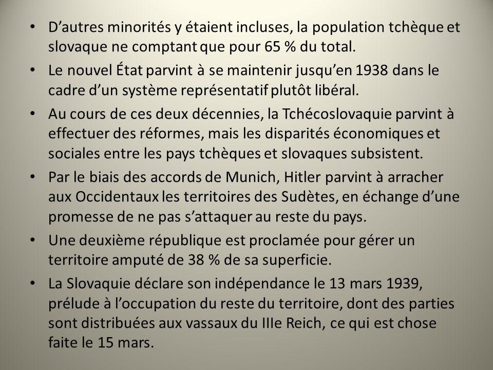 Dautres minorités y étaient incluses, la population tchèque et slovaque ne comptant que pour 65 % du total. Le nouvel État parvint à se maintenir jusq