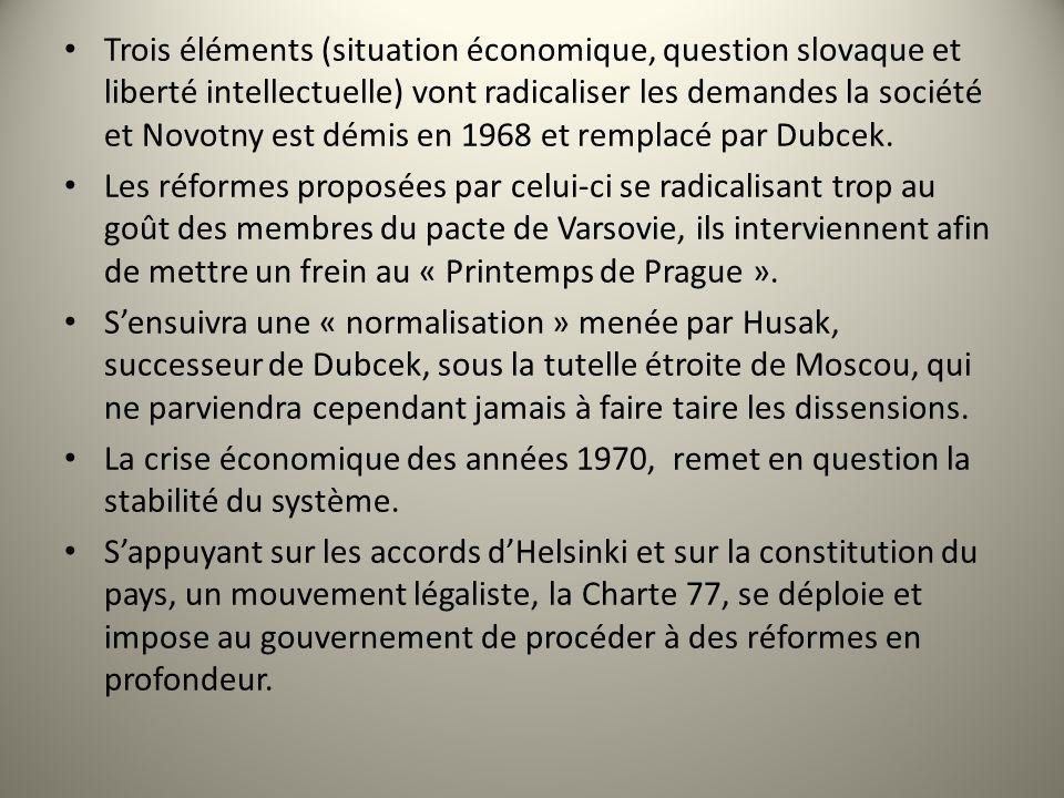 Trois éléments (situation économique, question slovaque et liberté intellectuelle) vont radicaliser les demandes la société et Novotny est démis en 19
