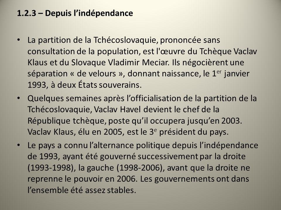 1.2.3 – Depuis lindépendance La partition de la Tchécoslovaquie, prononcée sans consultation de la population, est l'œuvre du Tchèque Vaclav Klaus et