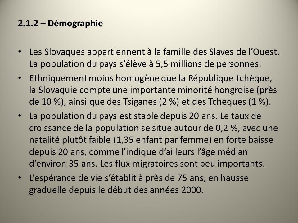 2.1.2 – Démographie Les Slovaques appartiennent à la famille des Slaves de lOuest. La population du pays sélève à 5,5 millions de personnes. Ethniquem