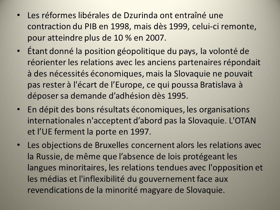 Les réformes libérales de Dzurinda ont entraîné une contraction du PIB en 1998, mais dès 1999, celui-ci remonte, pour atteindre plus de 10 % en 2007.