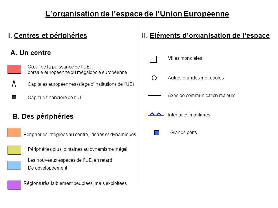 Lorganisation de lespace de lUnion Européenne I. Centres et périphéries Cœur de la puissance de lUE: dorsale européenne ou mégalopole européenne A. Un