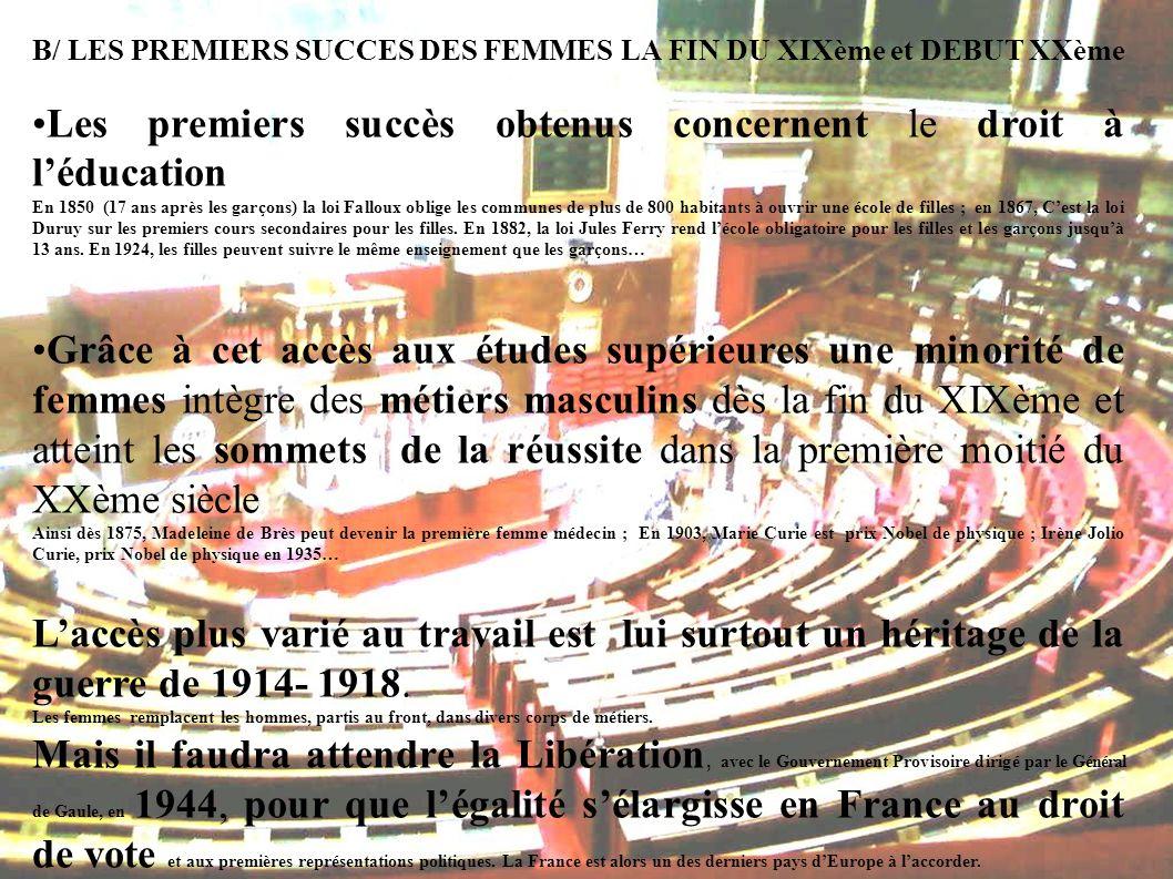 B/ LES PREMIERS SUCCES DES FEMMES LA FIN DU XIXème et DEBUT XXème Les premiers succès obtenus concernent le droit à léducation En 1850 (17 ans après l