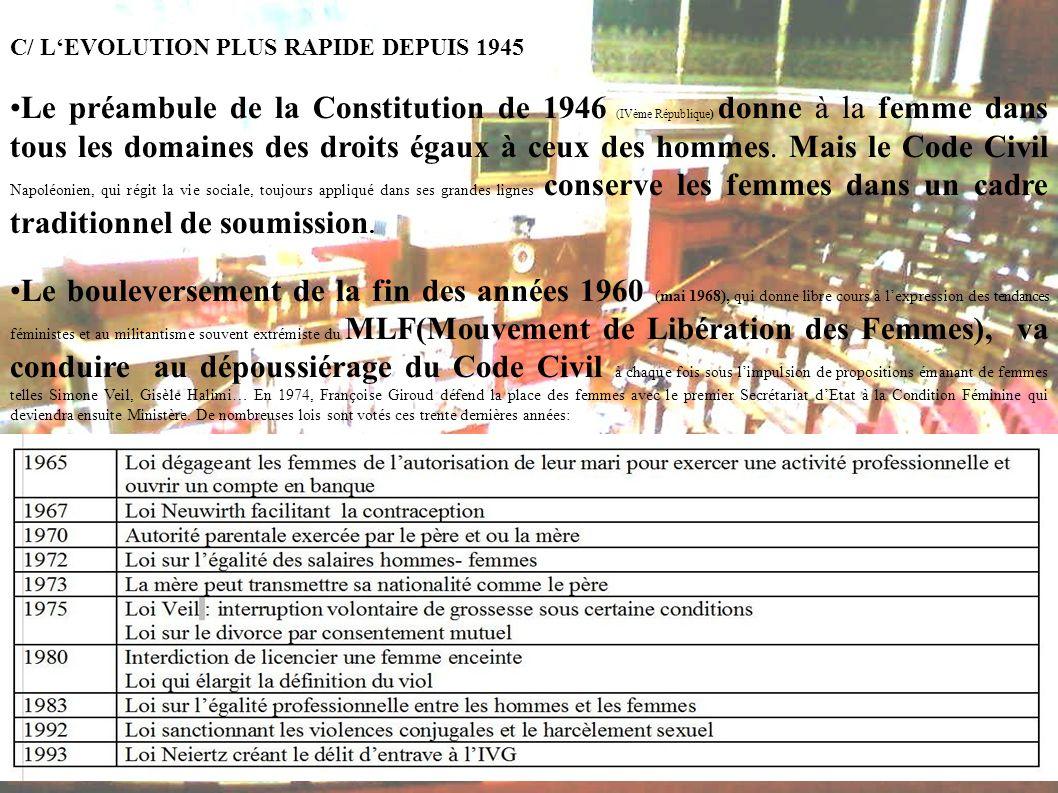 C/ LEVOLUTION PLUS RAPIDE DEPUIS 1945 Le préambule de la Constitution de 1946 (IVème République) donne à la femme dans tous les domaines des droits ég