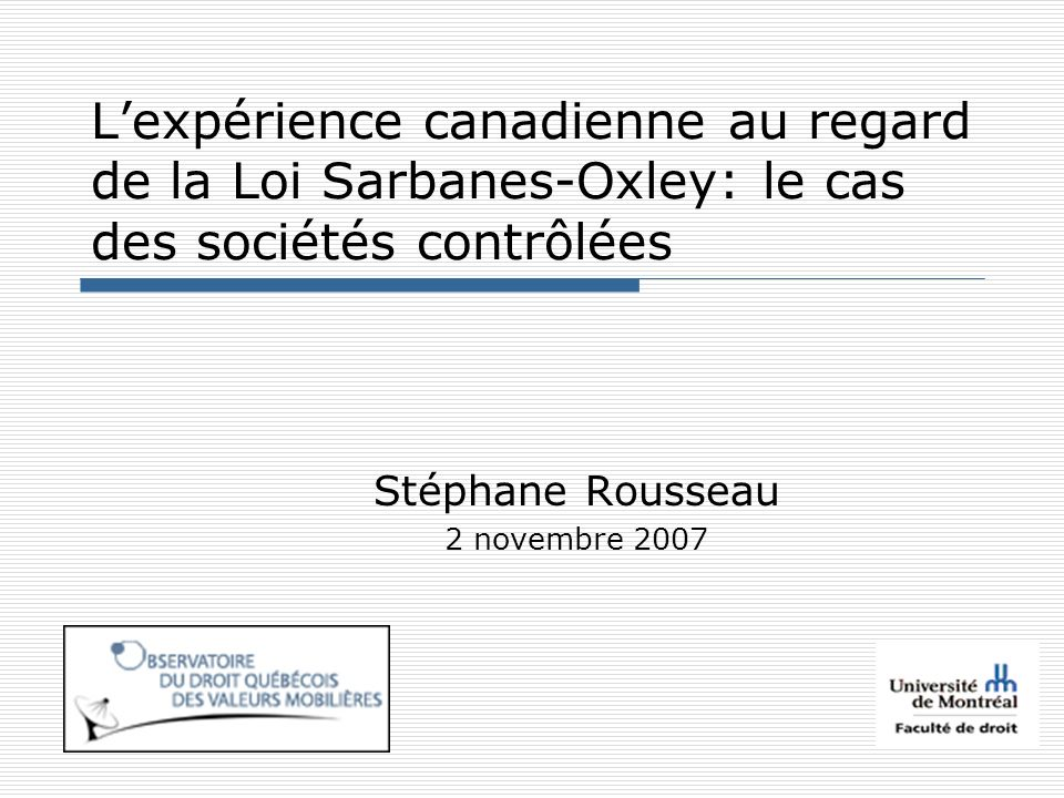 Réponse canadienne it is essential that we undertake in Canada a second phase of corporate governance reform focusing primarily, but not exclusively, on reforms that have been proposed and/or implemented in the U.S.
