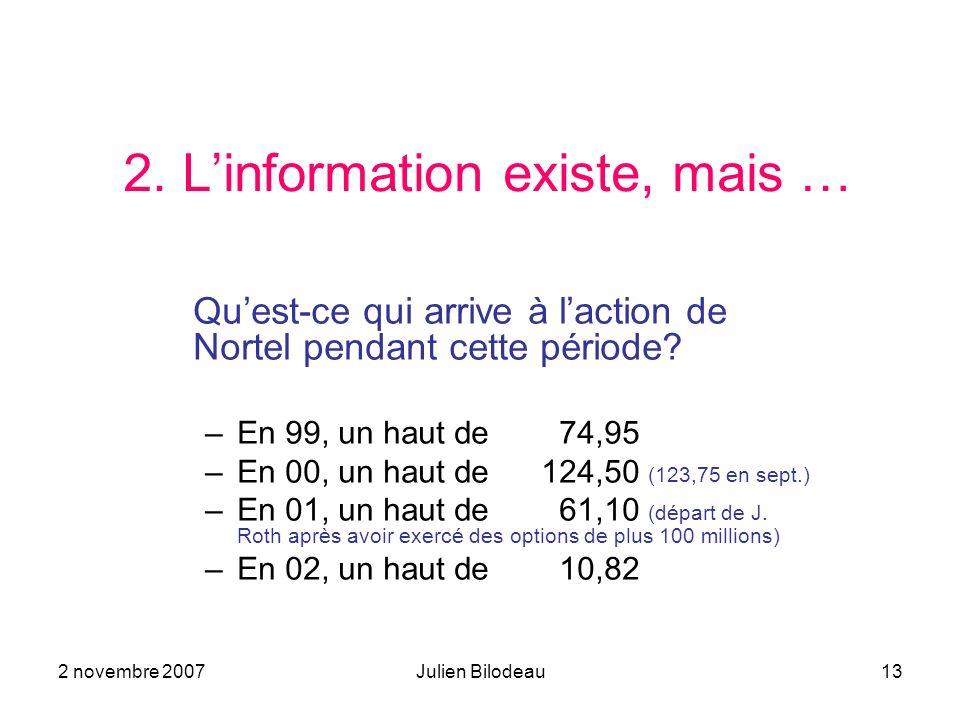 2 novembre 2007Julien Bilodeau13 2. Linformation existe, mais … Quest-ce qui arrive à laction de Nortel pendant cette période? –En 99, un haut de 74,9
