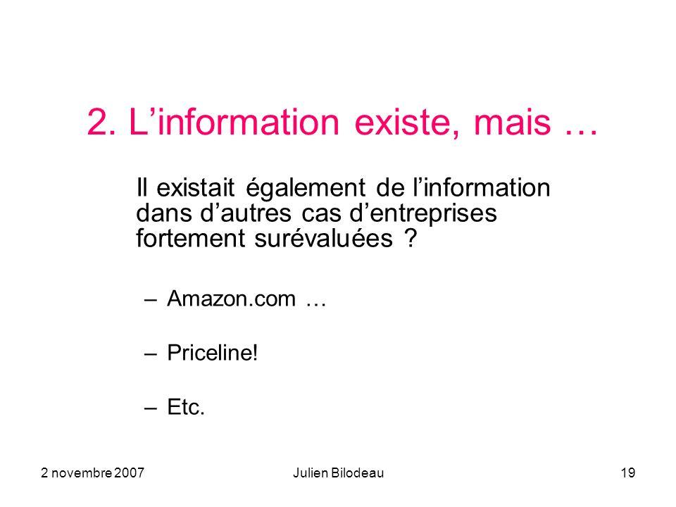2 novembre 2007Julien Bilodeau19 2. Linformation existe, mais … Il existait également de linformation dans dautres cas dentreprises fortement surévalu