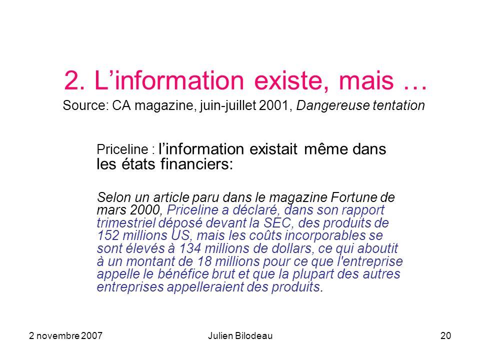 2 novembre 2007Julien Bilodeau20 2. Linformation existe, mais … Source: CA magazine, juin-juillet 2001, Dangereuse tentation Priceline : linformation