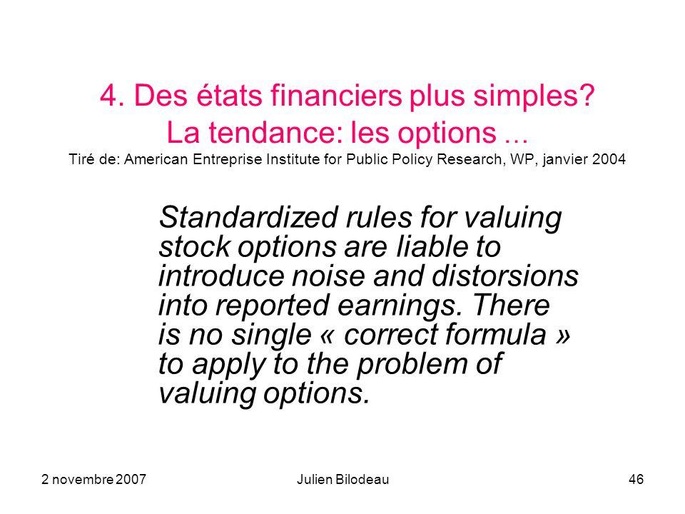 2 novembre 2007Julien Bilodeau46 4. Des états financiers plus simples? La tendance: les options … Tiré de: American Entreprise Institute for Public Po