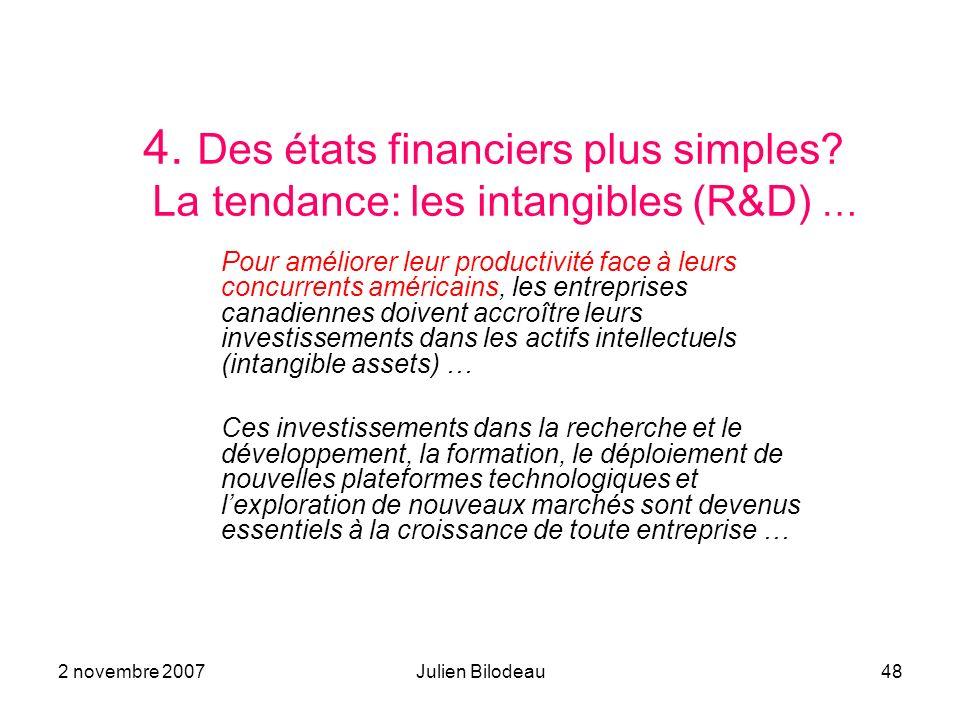 2 novembre 2007Julien Bilodeau48 4. Des états financiers plus simples? La tendance: les intangibles (R&D) … Pour améliorer leur productivité face à le