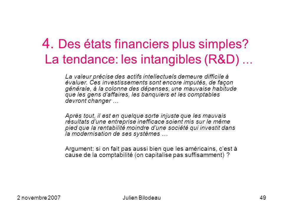 2 novembre 2007Julien Bilodeau49 4. Des états financiers plus simples? La tendance: les intangibles (R&D) … La valeur précise des actifs intellectuels