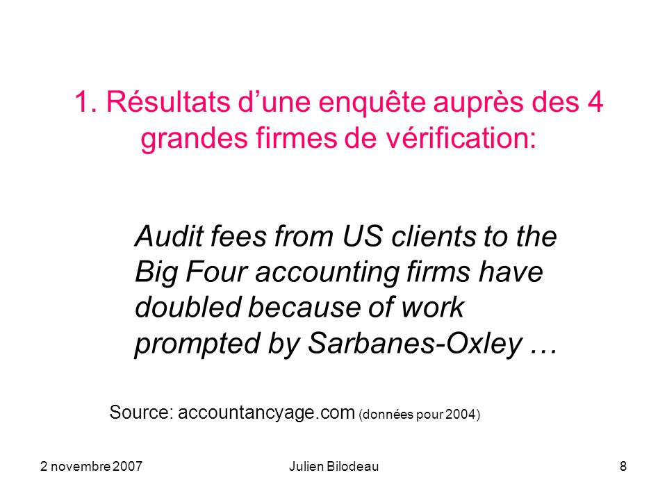 2 novembre 2007Julien Bilodeau8 1. Résultats dune enquête auprès des 4 grandes firmes de vérification: Audit fees from US clients to the Big Four acco