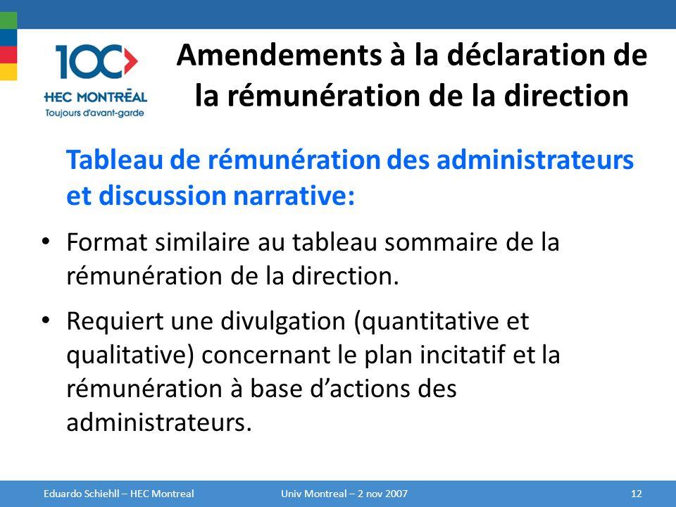Amendements à la déclaration de la rémunération de la direction Tableau de rémunération des administrateurs et discussion narrative: Format similaire