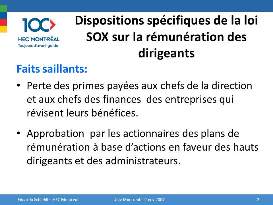 Rémunération des Administrateurs Nom (a) Honoraires ($) (b) Attribution dactions ($) (c) Attributions doptions ($) (d) Rémunération en vertu dun plan incitatif autre quà base dactions ($) (e) Variation de la valeur du plan de retraite ($) (f) Autre rémunération ($) (g) Total ($) (h) A B C D E Eduardo Schiehll – HEC Montréal13Univ Montreal – 2 nov 2007