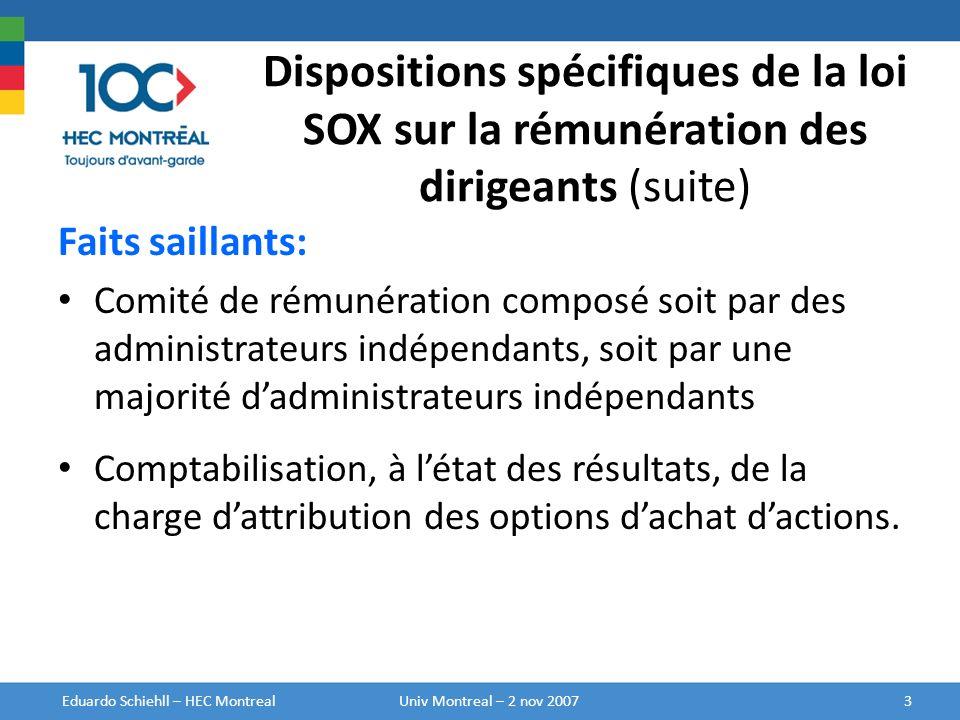 Dispositions spécifiques de la loi SOX sur la rémunération des dirigeants (suite) Faits saillants: Comité de rémunération composé soit par des adminis