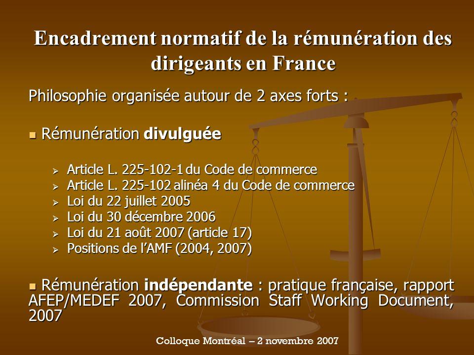 Encadrement normatif de la rémunération des dirigeants en France Philosophie organisée autour de 2 axes forts : Rémunération divulguée Rémunération divulguée Article L.