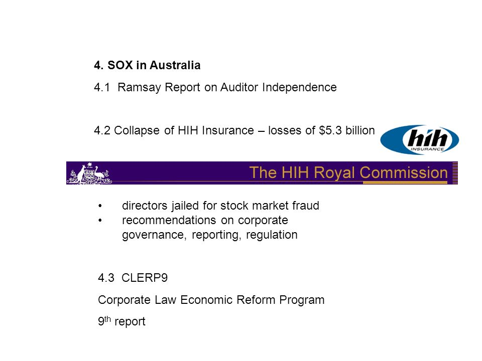 4. SOX in Australia 4.1 Ramsay Report on Auditor Independence 4.2 Collapse of HIH Insurance – losses of $5.3 billion directors jailed for stock market
