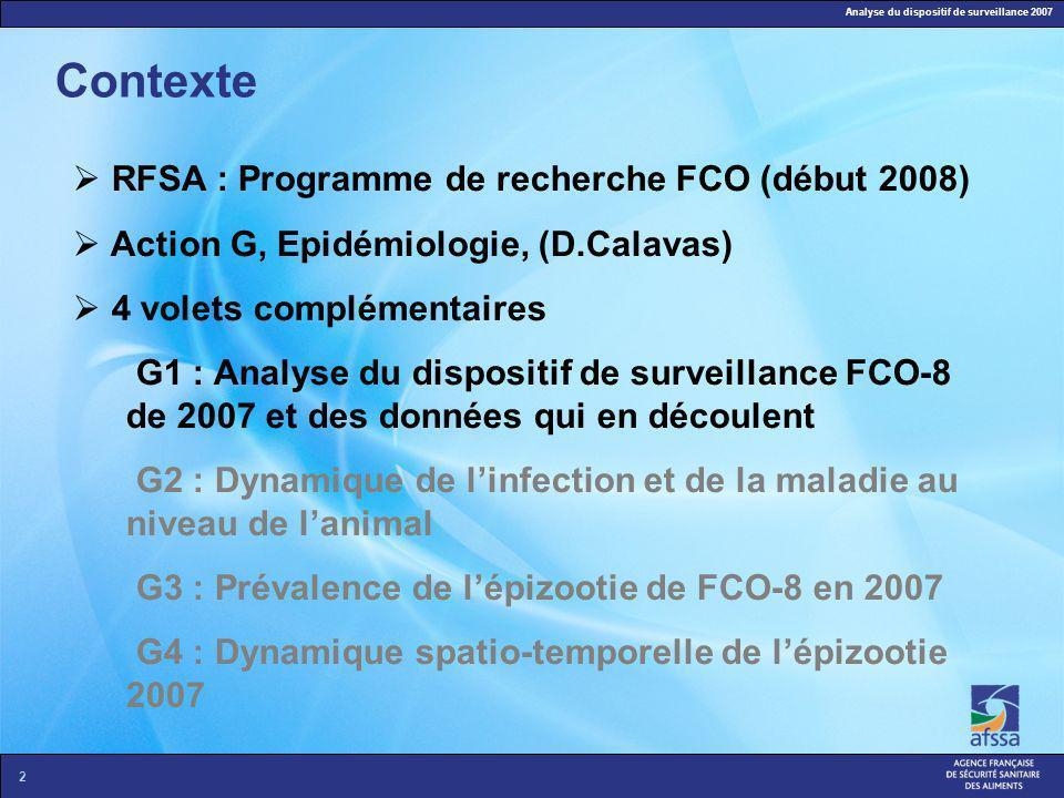 Analyse du dispositif de surveillance 2007 2 Contexte RFSA : Programme de recherche FCO (début 2008) Action G, Epidémiologie, (D.Calavas) 4 volets com