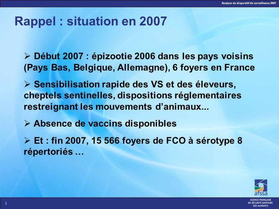 Analyse du dispositif de surveillance 2007 3 Rappel : situation en 2007 Début 2007 : épizootie 2006 dans les pays voisins (Pays Bas, Belgique, Allemag