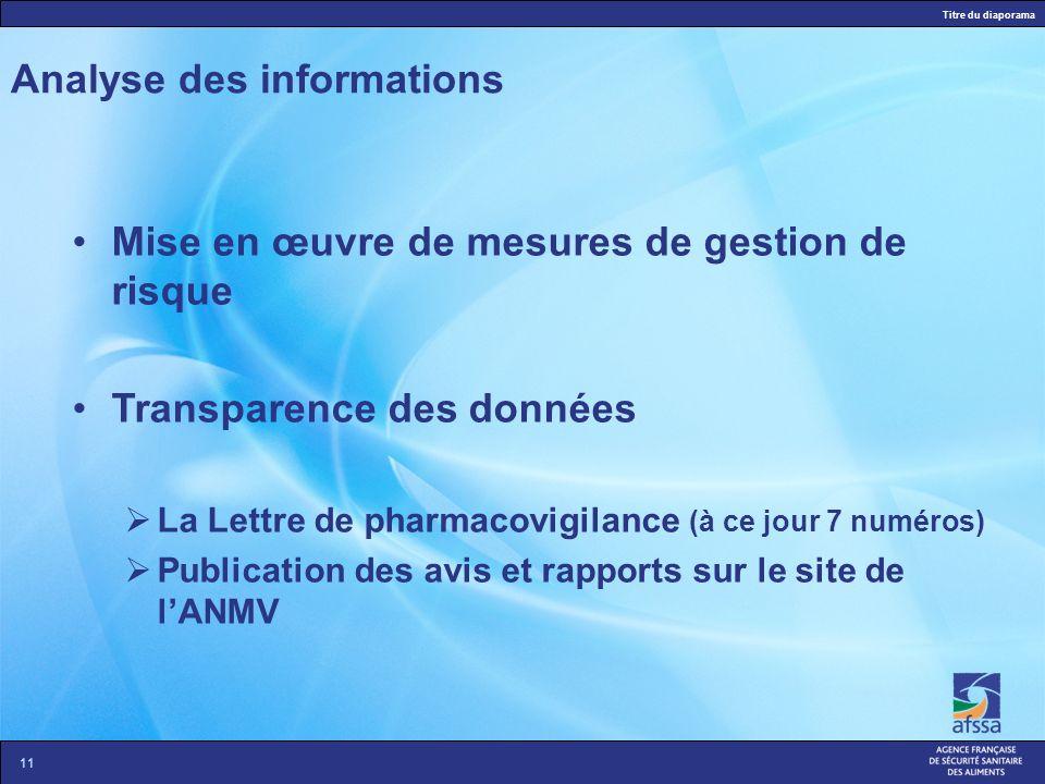 Titre du diaporama 10 Analyse des informations Ladministration du ou des médicament(s) vétérinaire (s) est-elle responsable de lapparition des effets