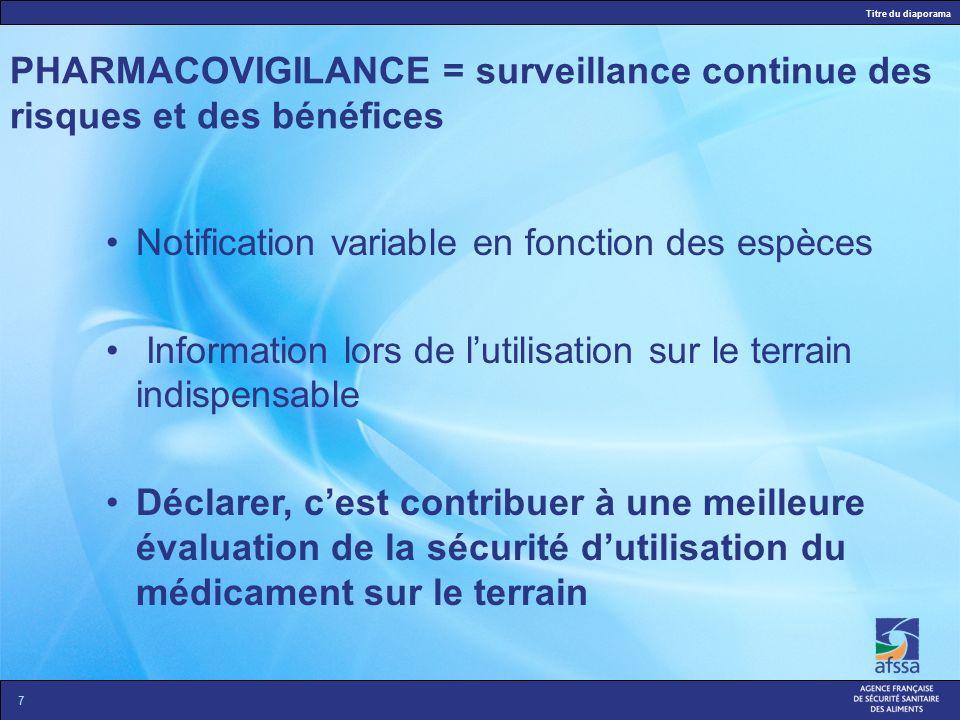 Titre du diaporama 6 PHARMACOVIGILANCE = surveillance continue des risques et des bénéfices Définir la probabilité quun animal, exposé à un traitement