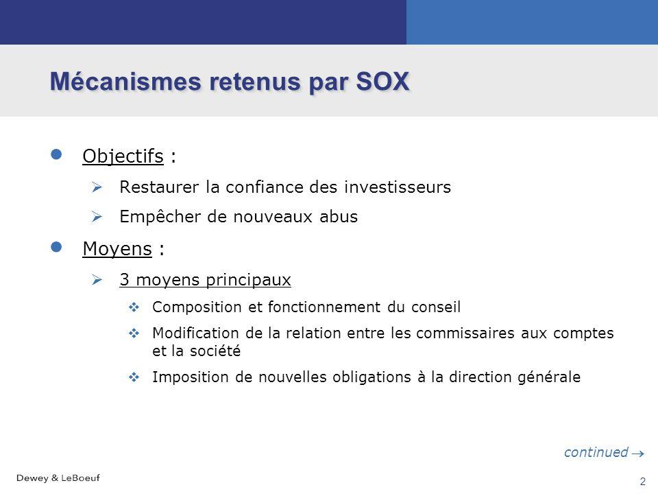 1 Rappel des motifs de l'adoption de SOX Émergence du patron-célébrité Perception qu'un manque de supervision des cadres supérieurs a conduit aux scan
