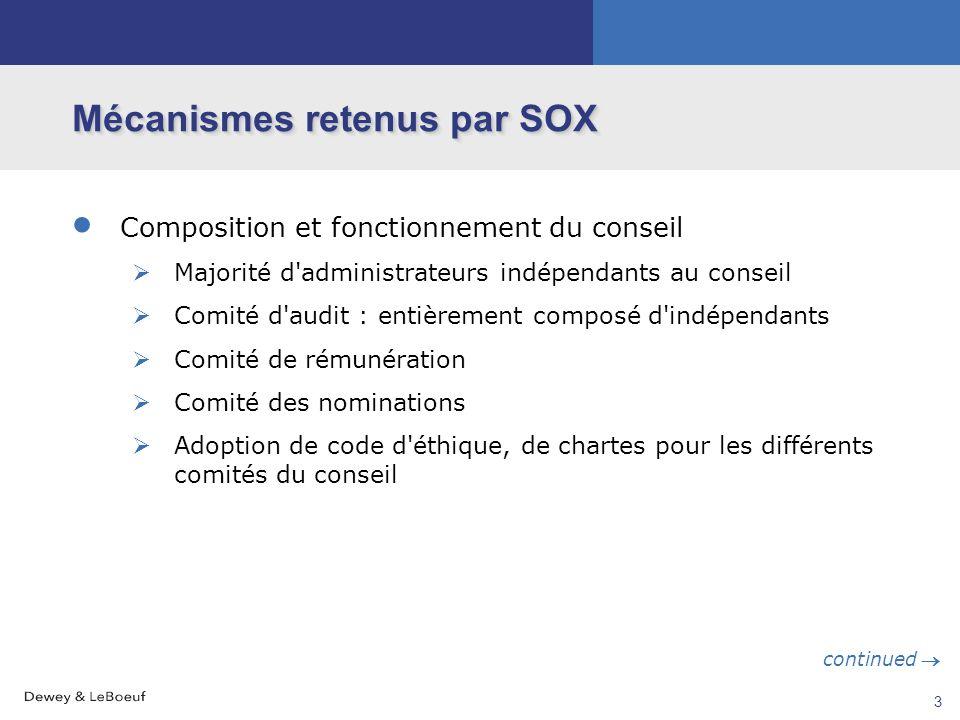 2 Mécanismes retenus par SOX Objectifs : Restaurer la confiance des investisseurs Empêcher de nouveaux abus Moyens : 3 moyens principaux Composition e