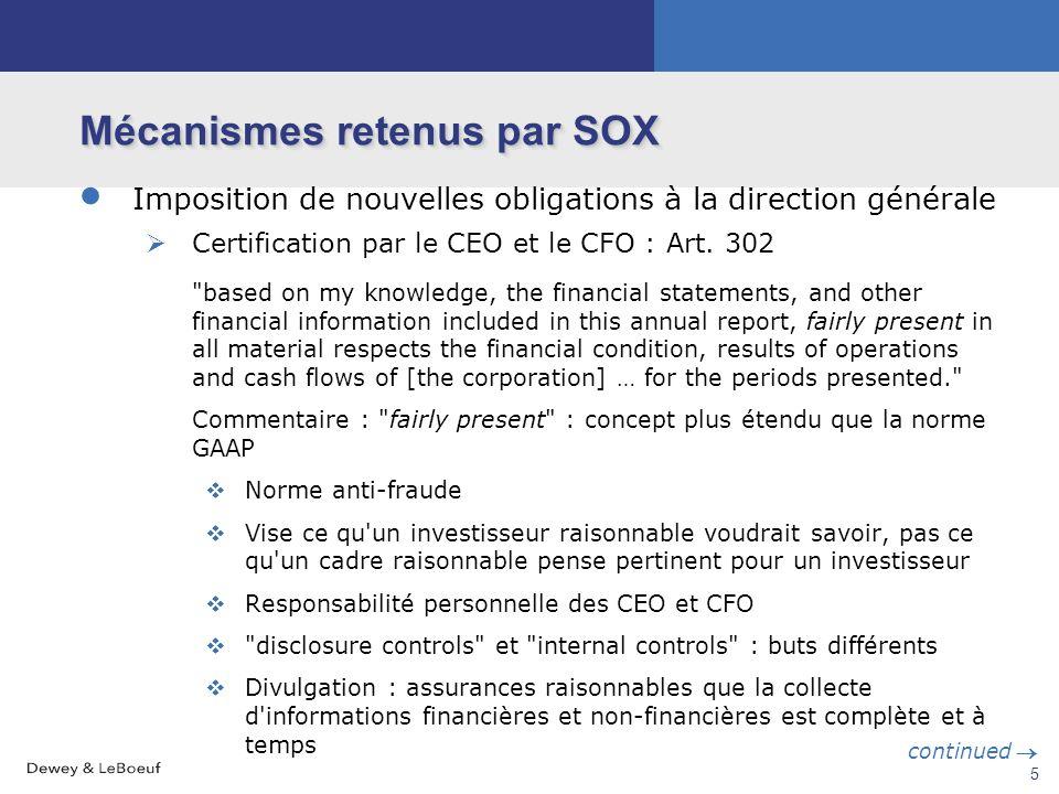 4 Mécanismes retenus par SOX Changement de la relation entre les commissaires aux comptes et la société Le comité d'audit seul choisit et paie les com