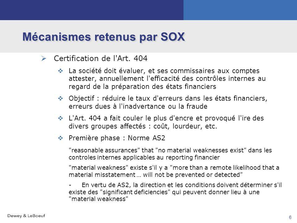 5 Mécanismes retenus par SOX Imposition de nouvelles obligations à la direction générale Certification par le CEO et le CFO : Art. 302