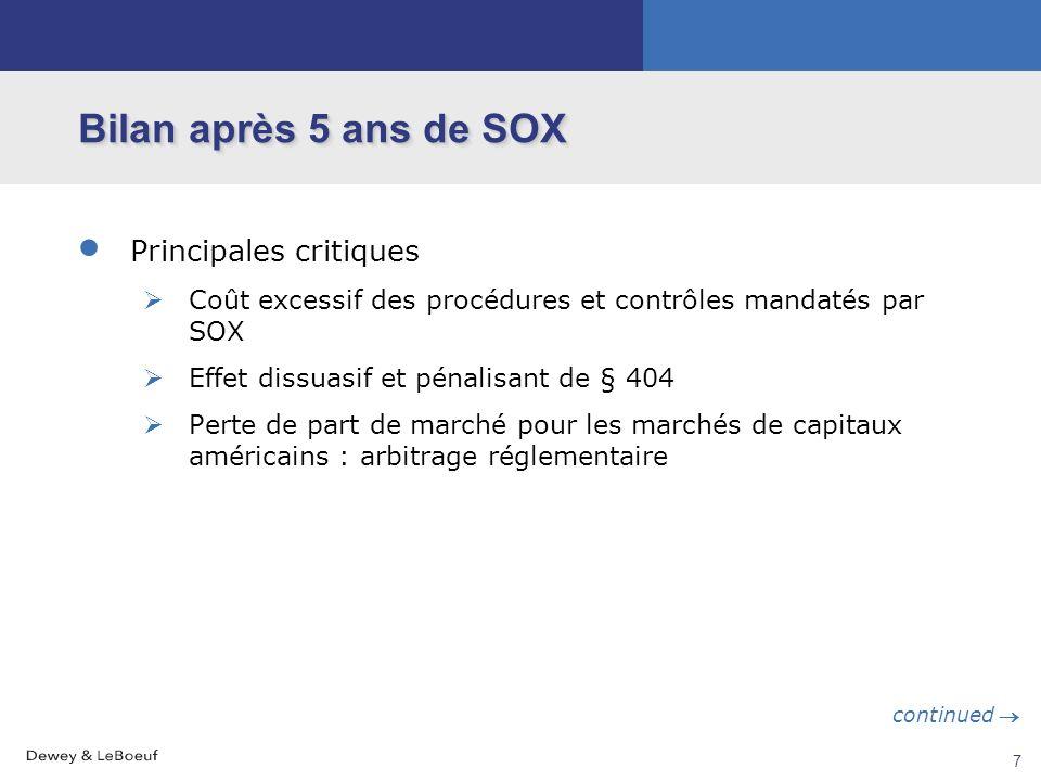 6 Mécanismes retenus par SOX Certification de l'Art. 404 La société doit évaluer, et ses commissaires aux comptes attester, annuellement l'efficacité