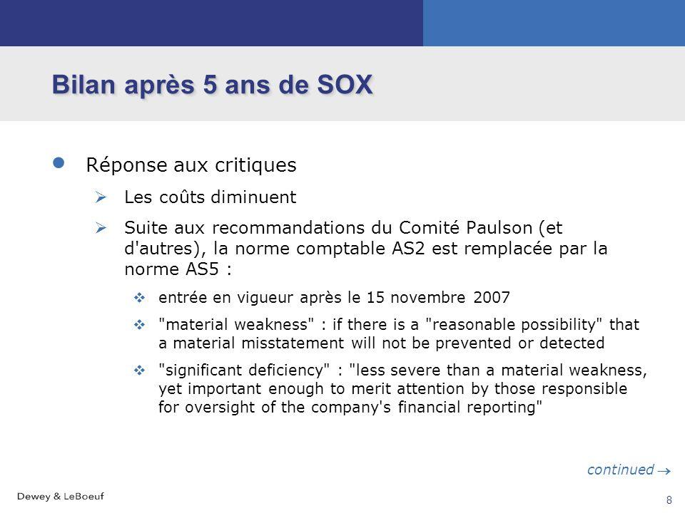 7 Bilan après 5 ans de SOX Principales critiques Coût excessif des procédures et contrôles mandatés par SOX Effet dissuasif et pénalisant de § 404 Per