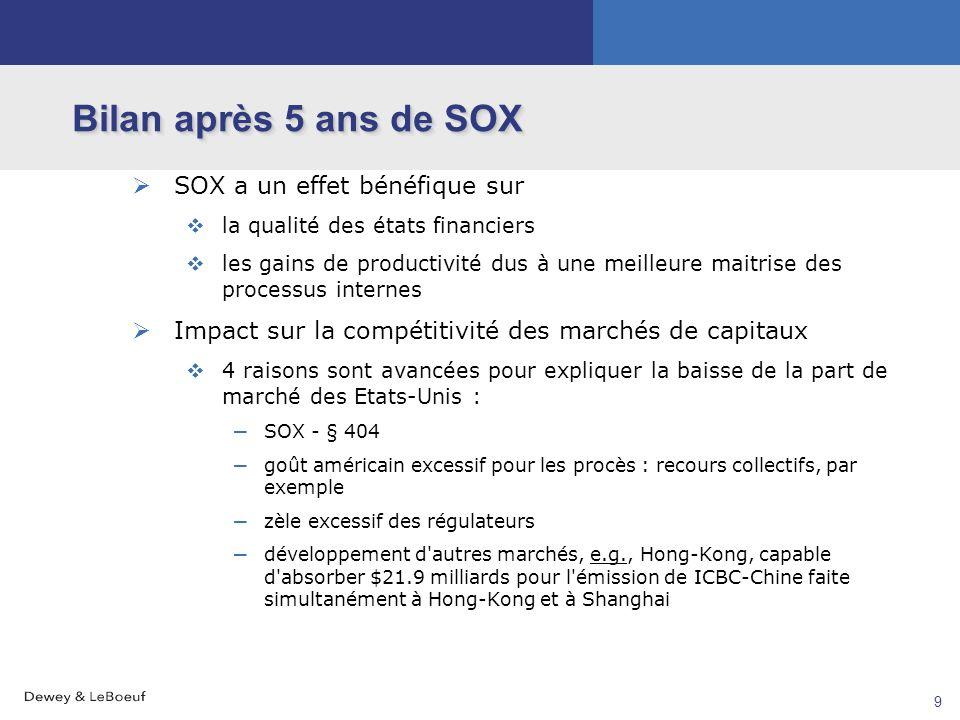 8 Bilan après 5 ans de SOX Réponse aux critiques Les coûts diminuent Suite aux recommandations du Comité Paulson (et d'autres), la norme comptable AS2