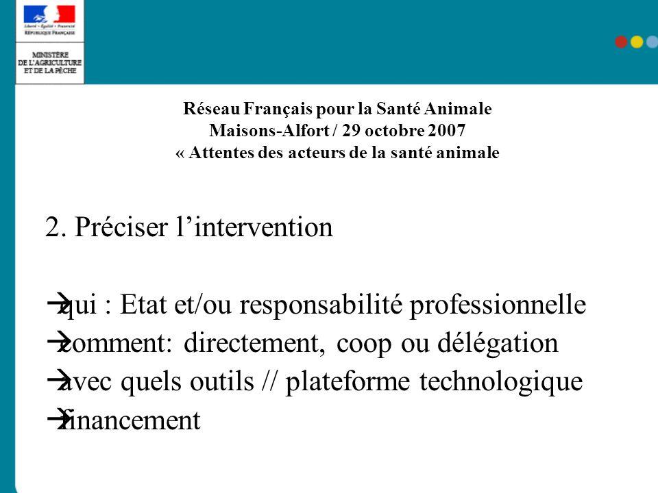Réseau Français pour la Santé Animale Maisons-Alfort / 29 octobre 2007 « Attentes des acteurs de la santé animale » 3.
